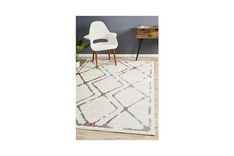 Felicia Pink & Ivory Soft Abstract Rug 330x240cm