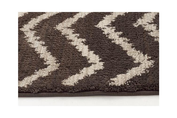 Morrocan Chevron Design Rug Brown Beige 290x200cm