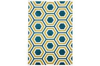 Indoor Outdoor Honeycomb Rug Blue Citrus 230x160cm