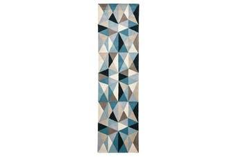 Gem Stone Designer Wool Rug Blue 400x80cm