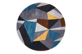Laura Designer Wool Rug Blue Yellow Grey 120x120cm