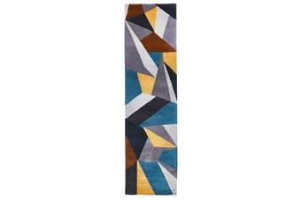 Laura Designer Wool Rug Blue Yellow Grey 400x80cm
