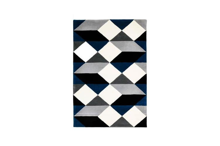 Digital Designer Wool Rug Blue Grey White 280x190cm