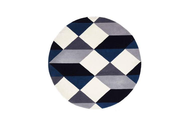 Digital Designer Wool Rug Blue Grey White 120x120cm