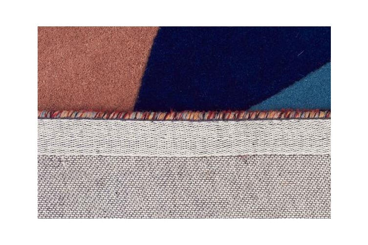 Sandy Designer Wool Rug Rust Blue Navy 280x190cm