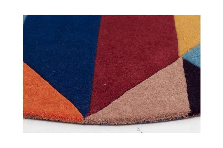 Sandy Designer Wool Rug Rust Blue Navy 150x150cm