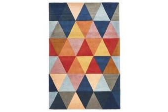 Prism Designer Wool Rug Rust Blue Navy 280x190cm