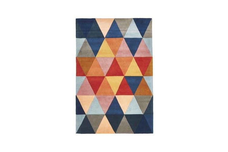 Prism Designer Wool Rug Rust Blue Navy 320x230cm
