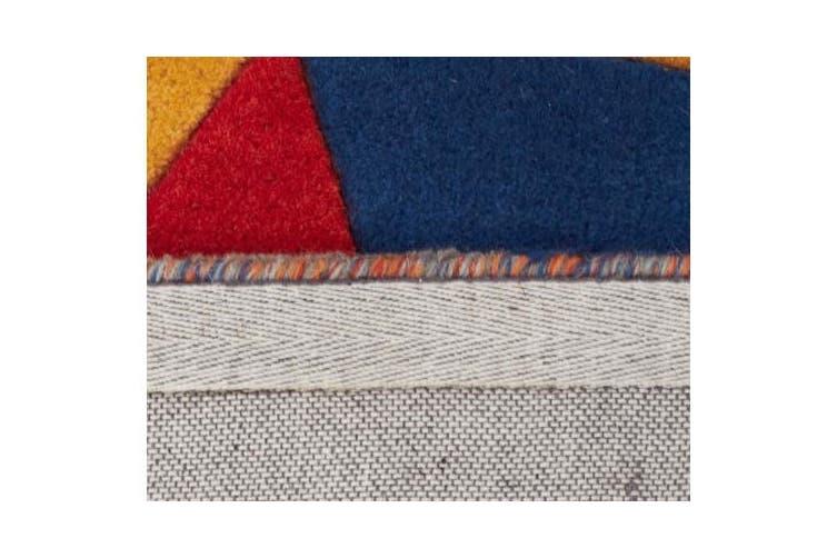 Prism Designer Wool Rug Rust Blue Navy 400x80cm