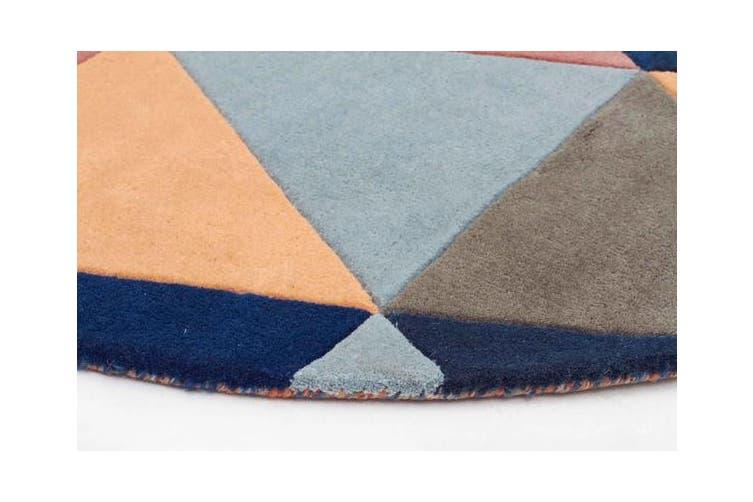 Prism Designer Wool Rug Rust Blue Navy 200x200cm