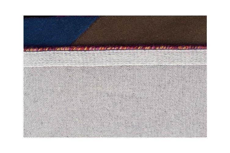 Eclectic Designer Wool Rug Blue Rust Purple 400x80cm