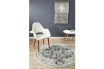 Hazel Charcoal & Grey Durable Medallion Round Rug