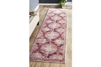 Hazel Pink Durable Vintage Look Runner Rug 300x80cm