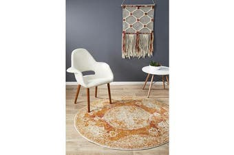 Hazel Rust Durable Vintage Look Round Rug