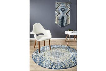 Hazel Navy & Yellow Durable Kaleidoscope Round Rug
