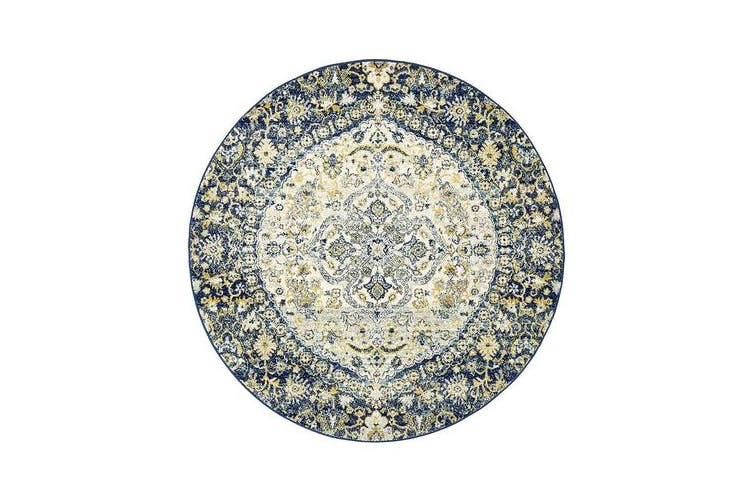 Hazel Navy & Yellow Durable Kaleidoscope Round Rug 200x200cm