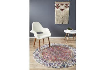 Hazel Rust & Multi Durable Kaleidoscope Round Rug