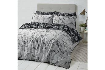 Style & Co 100 % Cotton Reversible Quilt Cover Set Single Marble