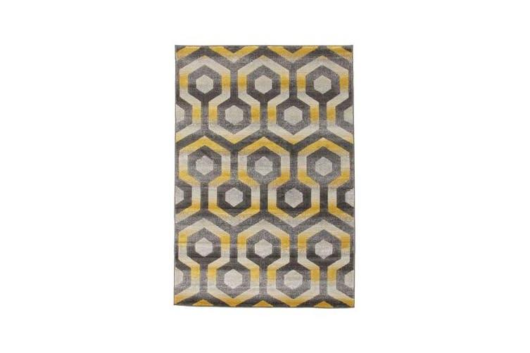 Irene Hive Modern Rug Yellow Grey 230x160cm
