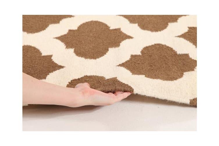 Flat Weave Quatrefoil Rug Brown Ivory 225x155cm