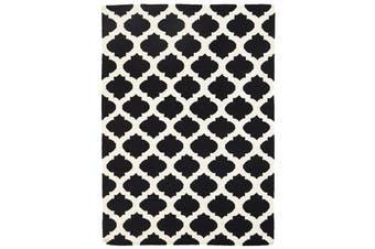 Flat Weave Quatrefoil Rug Black Ivory 225x155cm