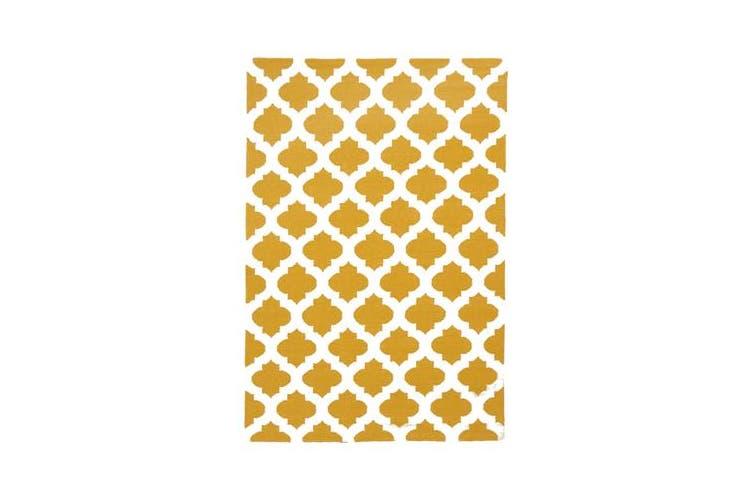 Flat Weave Quatrefoil Rug Gold Ivory 280x190cm