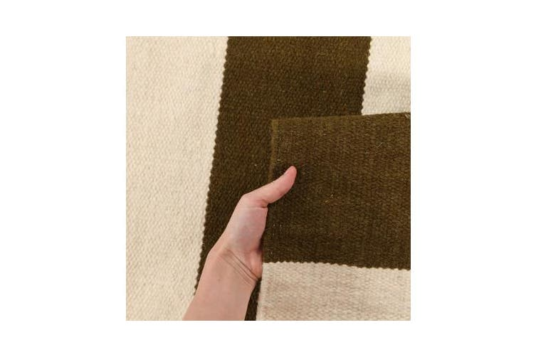 Flat Weave Stripe Olive White Rug 225x155cm