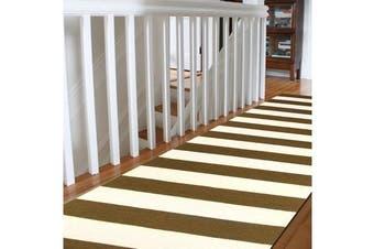 Flat Weave Stripe Olive White Runner Rug