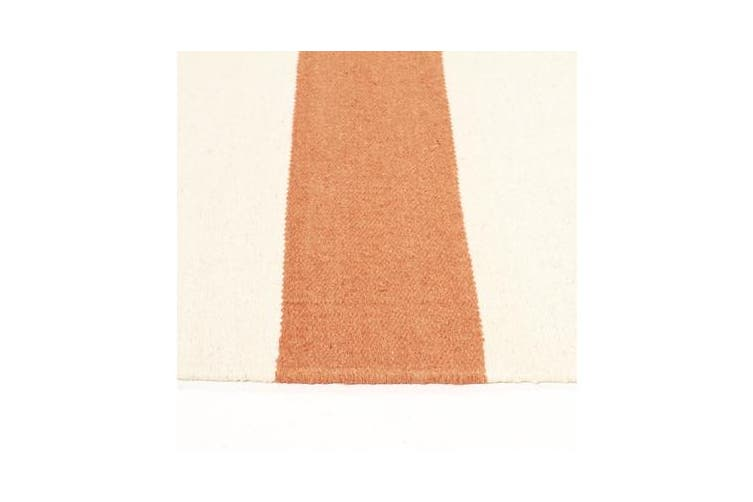 Flat Weave Stripe Orange White Rug 225x155cm