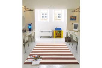 Flat Weave Stripe Light Brown White Rug 280x190cm