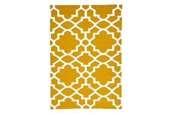 Flat Weave Trellis Design Gold White Rug 280x190cm