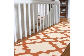Flat Weave Trellis Design Orange White Rug 400x80cm