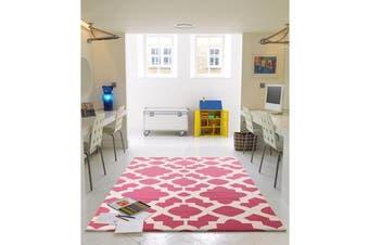 Flat Weave Trellis Design Pink White Rug