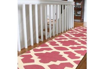 Flat Weave Trellis Design Pink White Runner Rug