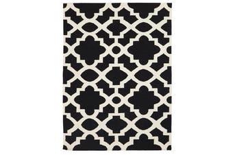 Flat Weave Trellis Design Black White Rug 320x230cm