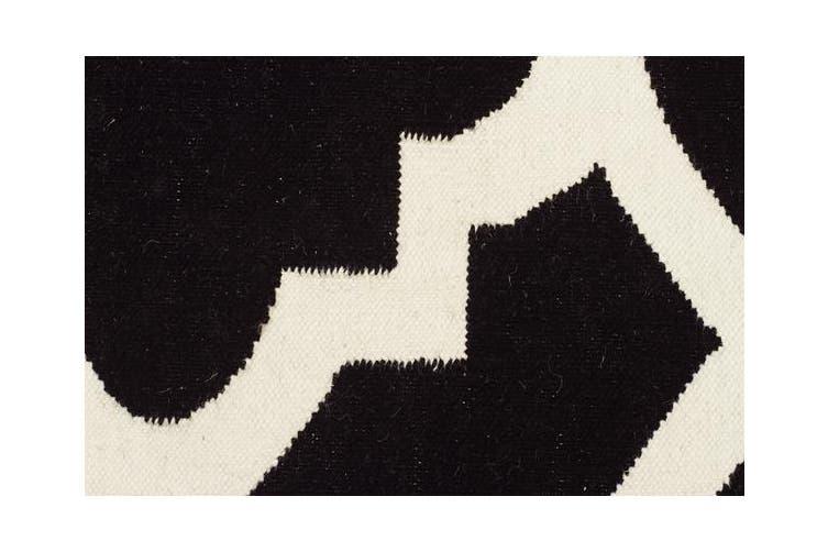 Flat Weave Trellis Design Black White Rug 280x190cm