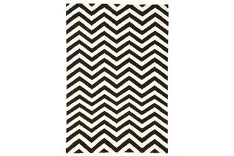 Flat Weave Chevron Design Rug Black White