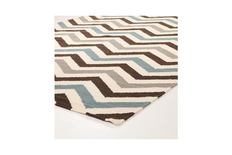 Flat Weave Design Rug Blue Brown 320x230cm