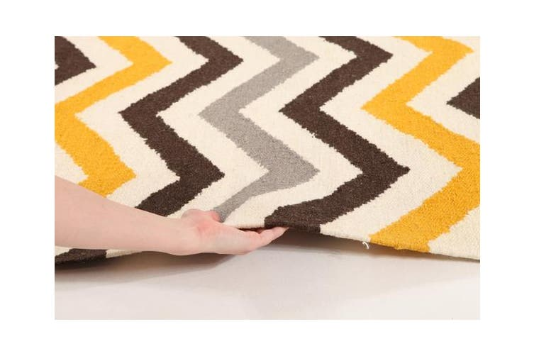 Flat Weave Design Rug Yellow Brown 225x155cm