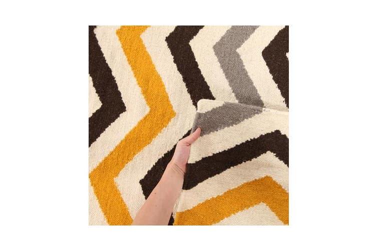 Flat Weave Chevron Design Rug Yellow Brown 300x80cm