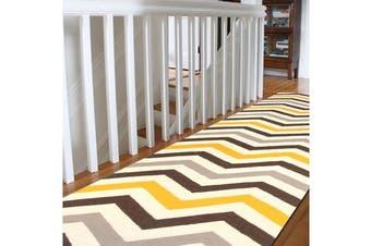 Flat Weave Chevron Runner Rug Yellow Brown