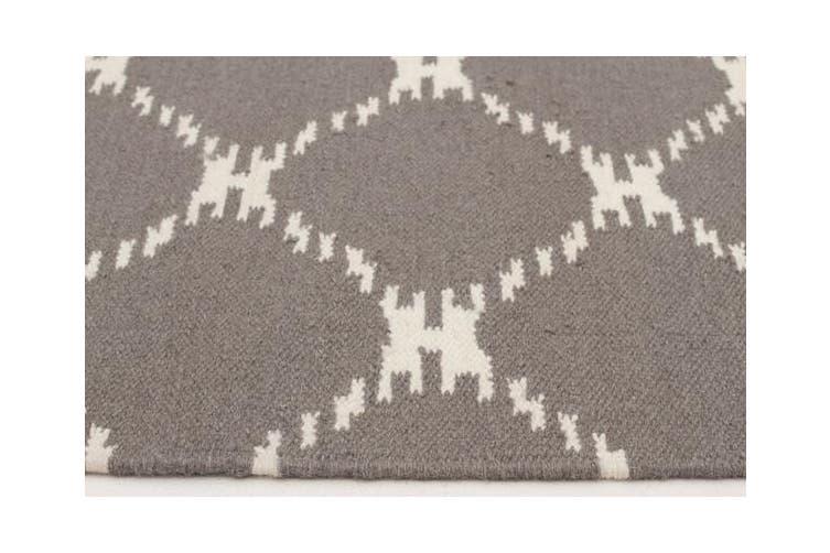 Flat Weave Stitch Design Rug Grey 280x190cm