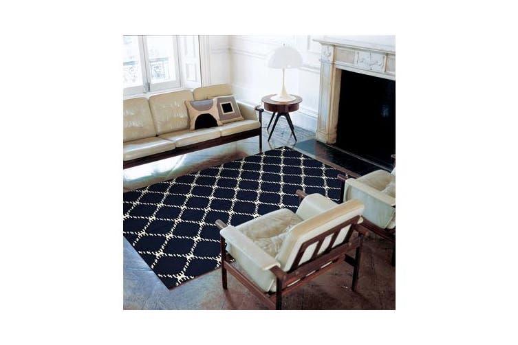 Flat Weave Stitch Design Rug Navy 225x155cm