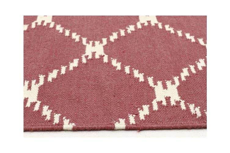 Flat Weave Stitch Design Rug Pink 300x80cm