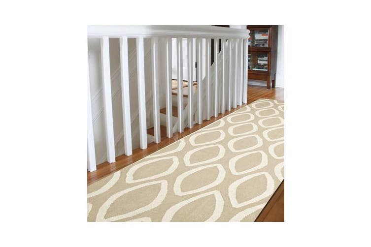 Flat Weave Oval Print Rug Beige 300x80cm