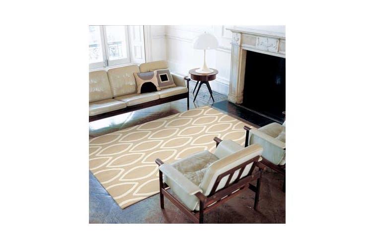 Flat Weave Oval Print Rug Beige 225x155cm