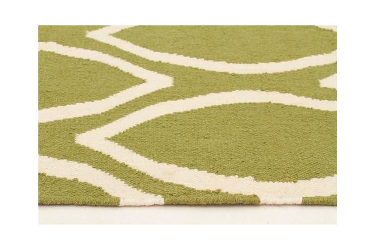 Flat Weave Oval Print Rug Green 400x80cm