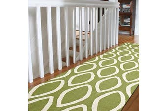 Flat Weave Oval Print Runner Rug Green
