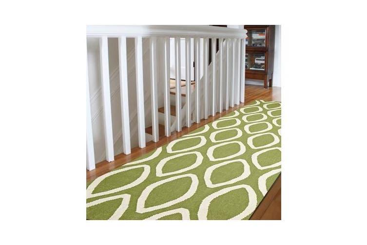 Flat Weave Oval Print Rug Green 300x80cm