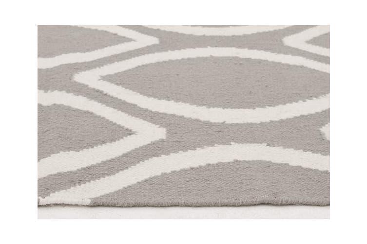 Flat Weave Oval Print Rug Grey 400x80cm